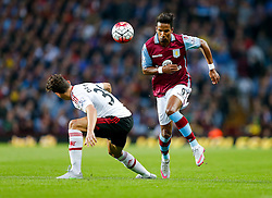 Scott Sinclair of Aston Villa is challenged by Matteo Darmian of Manchester United - Mandatory byline: Rogan Thomson/JMP - 07966 386802 - 14/08/2015 - FOOTBALL - Villa Park Stadium - Birmingham, England - Aston Villa v Manchester United - Barclays Premier League.