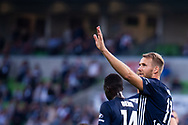 MELBOURNE, AUSTRALIA - APRIL 14: Ola Toivonen (11) of the Victory cheers on fans after scoring during round 25 of the Hyundai A-League match between Melbourne Victory and Central Coast Mariners on April 14, 2019 at AAMI Park in Melbourne, Australia. (Photo by Speed Media/Icon Sportswire)