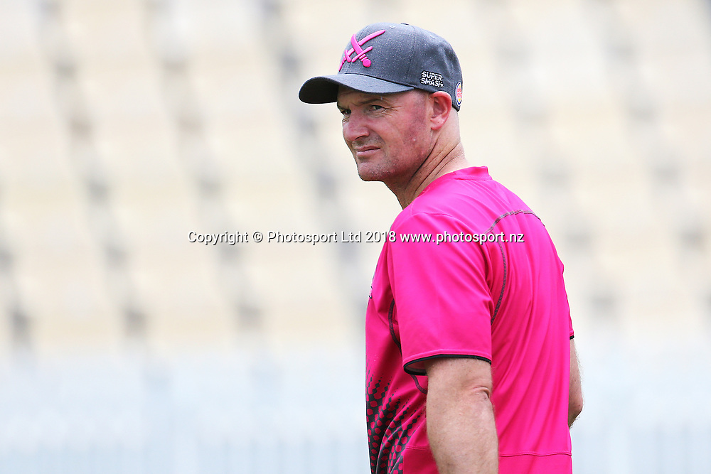Knights T20 Coach Gareth Hopkins ahead of the Burger King Super Smash Twenty20 cricket match Knights v Kings played at Seddon Park, Hamilton, New Zealand on Sunday 14 January 2018.<br /> <br /> Copyright photo: &copy; Bruce Lim / www.photosport.nz