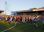 Happy Rochdale fans celebrating their team's escape from relegation during the EFL Sky Bet League 1 match between Rochdale and Charlton Athletic at Spotland, Rochdale, England on 5 May 2018. Picture by Paul Thompson.
