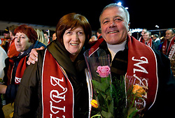 Mother and father of Slovenian athlete Petra Majdic when she arrived home with cristal globus at the end of the nordic season 2008/2009, on March 23, 2009, at airport Jozeta Pucnika, Brnik, Slovenia. (Photo by Vid Ponikvar / Sportida)