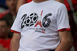 BORDEAUX, FRANCE - Monday, June 14, 2016: The T Shirt of an Austria supporter celebrating the tournament ahead of the UEFA Euro 2016 Championship match against Hungary at Stade de Bordeaux. (Pic by Paul Greenwood/Propaganda)