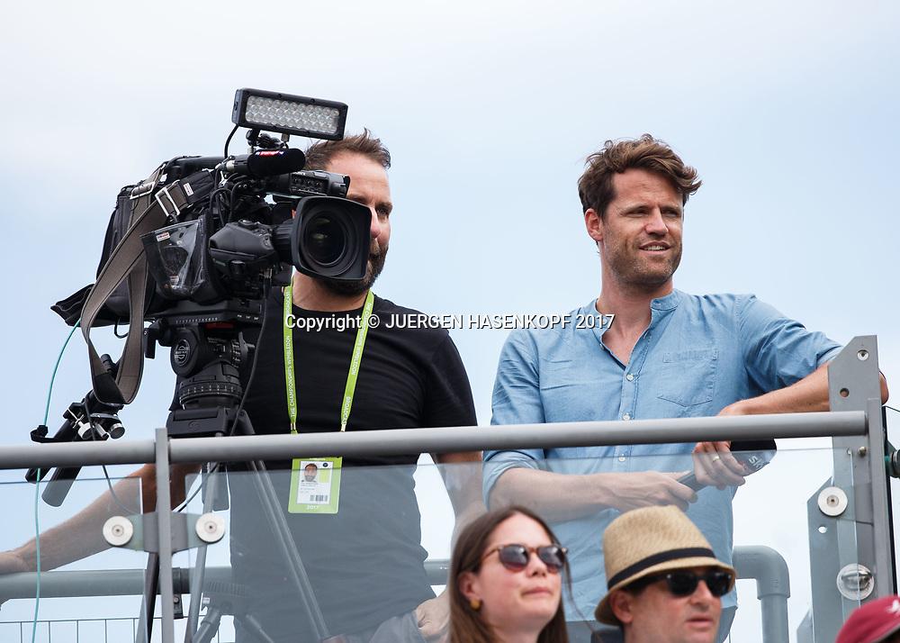 Wimbledon Feature, Moritz Lang, TV-Reporter, TV-Moderator und TV-Redakteur bei Sky Sport News HD<br /> <br /> Tennis - Wimbledon 2017 - Grand Slam ITF / ATP / WTA -  AELTC - London -  - Great Britain  - 7 July 2017.