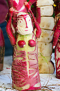 A dancer carved from radishes for Noche de Rabanos festival, Oaxaca, Mexico.