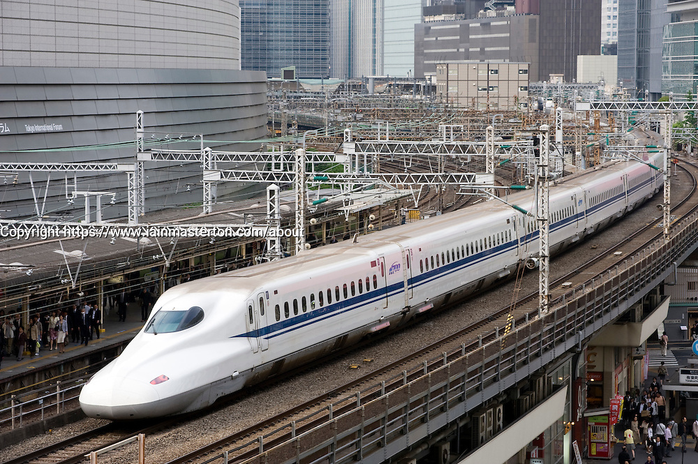 Modern Shinkansen or Bullet train in central Tokyo Japan