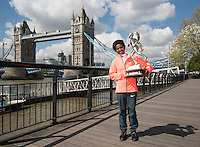 Virgin Money London Marathon 2015<br /> <br /> Winners Photocall<br /> <br /> Left to Right<br />  Tigist Tufa Ethiopia Women Winner<br /> <br /> Posing with the Sporting Life Marathon Trophy<br /> <br /> Photo: Bob Martin for Virgin Money London Marathon<br /> <br /> This photograph is supplied free to use by London Marathon/Virgin Money.