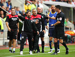 Bristol City head coach Lee Johnson gestures towards referee Andrew Madley - Mandatory by-line: Matt McNulty/JMP - 10/09/2016 - FOOTBALL - Aesseal New York Stadium - Rotherham, England - Rotherham United v Bristol City - Sky Bet Championship