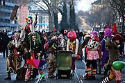 Frankfurt am Main | 18 Mar 2015<br /> <br /> Blockupy-Proteste in Frankfurt am 18.03.2015, hier: Democlowns auf der Hanauer Landstrasse bei der Arbeit.<br /> <br /> photo &copy; peter-juelich.com