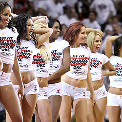 Jun 17, 2012; Miam, FL, USA; Miami Heat dancers perform during the second quarter in game three in the 2012 NBA Finals against the Oklahoma City Thunder at the American Airlines Arena. Mandatory Credit: Derick E. Hingle-US PRESSWIRE