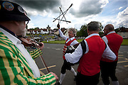 The Thaxted Morris Weekend, Thaxted and surrounding villages, Thaxted, Essex, England. 30 May 2015<br /> Seen here: Claro side from Horrogate at the Fox Pub in Finchingfield, north Essex.<br /> 21 teams or 'sides' of Morris Men including teams from Holland , Denmak and Australia danced through the villages such as Finchingfield in rural north Essex during the start of the 345th meeting of the member clubs of the Morris Ring and the 82nd meeting hosted by the Thaxted Morris Men.
