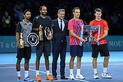 Raven Klassen (South Africa) and Rajeev Ram (USA) left and Henri Kontinen (Finland) and John Peers (Australia) hold the trophy during the doubles final of the Barclays ATP World Tour Finals at the O2 Arena, London, United Kingdom on 20 November 2016. Photo by Phil Duncan.