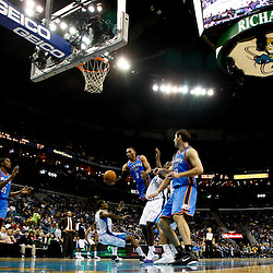 January 24,  2011; New Orleans, LA, USA; Oklahoma City Thunder point guard Russell Westbrook (0) collides with New Orleans Hornets point guard Chris Paul (3) during the third quarter at the New Orleans Arena. The Hornets defeated the Thunder 91-89. Mandatory Credit: Derick E. Hingle