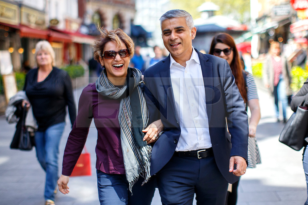 © Licensed to London News Pictures. 04/05/2016. London, UK. Labour's Mayor of London candidate SADIQ KHAN and his wife  SAADIYA KHAN leaving LBC studios in central London on Wednesday, 4 May 2016, the day before the mayoral election. Photo credit: Tolga Akmen/LNP