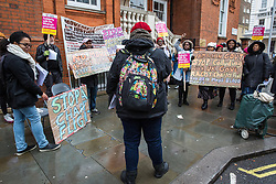 London, UK. 4th February, 2019. Karen Doyle of Movement for Justice addresses a protest outside the Jamaican High Commission against plans by the Home Office and Jamaican government to recommence mass deportation charter flights on 6th February. The enforced removals are reported to include people who came to the UK as children and parents with British children and the deportation flight would be the first since March 2017 and the Windrush scandal.