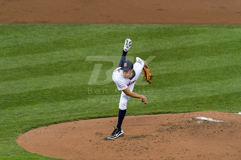 Cole Devries (38) pitches against the Tampa Bay Rays on August 10, 2012 at Target Field in Minneapolis, Minnesota.  The Rays defeated the Twins 12 to 6.  Photo: Ben Krause