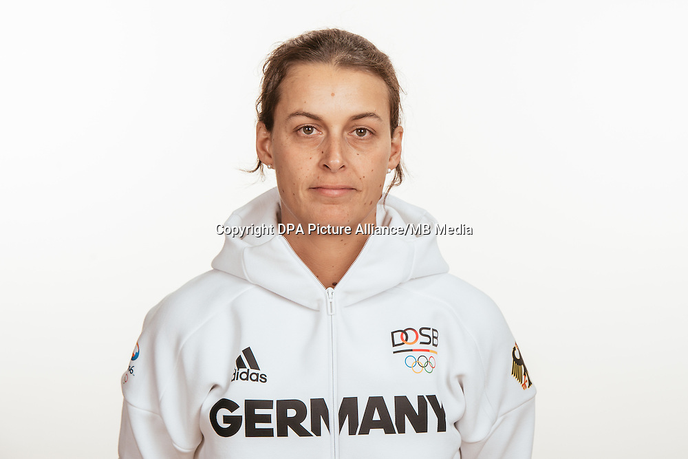 Christine Wenzel poses at a photocall during the preparations for the Olympic Games in Rio at the Emmich Cambrai Barracks in Hanover, Germany, taken on 14/07/16 | usage worldwide