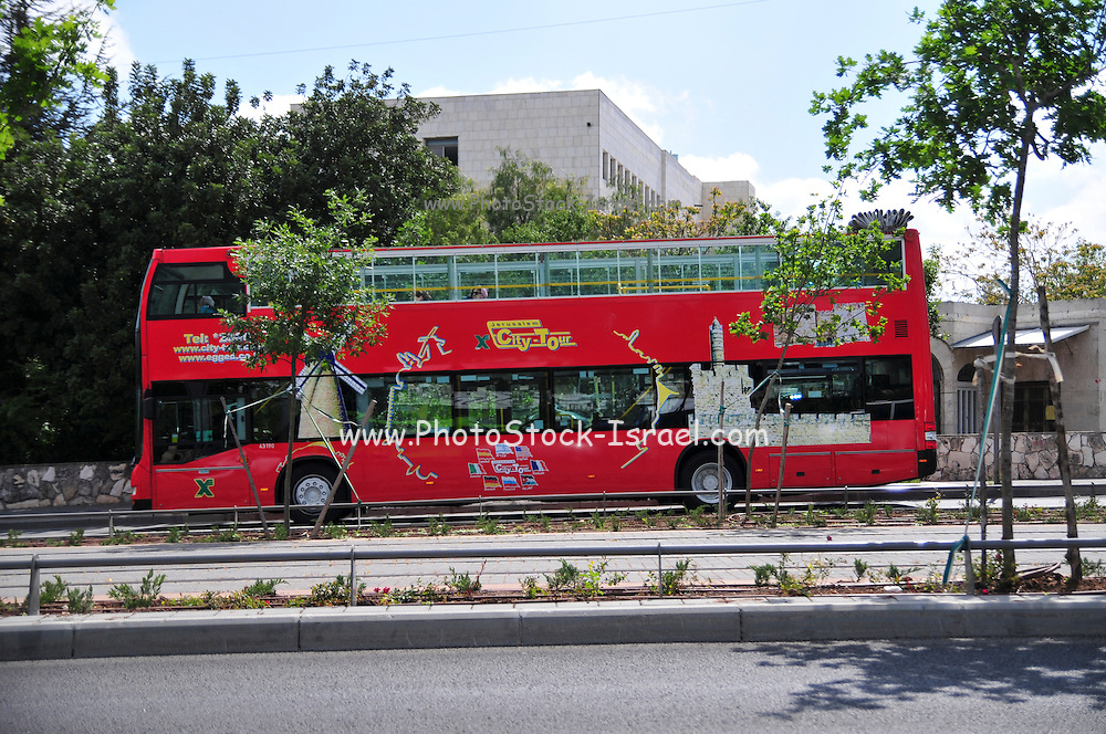 Israel, Jerusalem Double Decker Tourist Bus