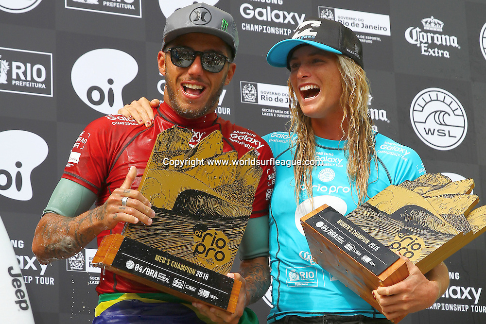 BARRA DA TIJUCA, Rio de Janeiro/Brazil (Sunday, May 17, 2015) &ndash; Filipe Toledo of Ubatuba, Sao Paulo, Brazil (pictured) and Courtney Conlogue of Santa Ana, California, USA (pictured) celebrate their wins at the Oi Rio Pro in Barra De Tijuca, Rio, Brasil.  The Oi Rio Pro is both Toledos and Conlogues second win of the 2015 season.<br /> <br /> IMAGE CREDIT: &copy; WSL / Smorigo<br /> PHOTOGRAPHER: Daniel Smorigo<br /> SOCIAL MEDIA TAG: @wsl @danielsmorigo<br />  <br /> The images attached or accessed by link within this email (&quot;Images&quot;) are provided by the Association of Surfing Professionals LLC (&quot;World Surf League&quot;). All Images are royalty-free but for editorial use only. No commercial rights are granted to the Images in any way. The Images are provided on an &quot;as is&quot; basis and no warranty is provided for use of a particular purpose. Rights to individuals within the Images are not provided. The copyright is owned by World Surf League. Sale or license of the Images are prohibited. ALL RIGHTS RESERVED.