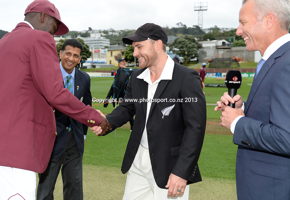 Captains Brendon McCullum and Darren Sammy and Mark Richardson on Day 1 of the 2nd cricket test match of the ANZ Test Series. New Zealand Black Caps v West Indies at The Basin Reserve in Wellington. Wednesday 11 December 2013. Mandatory Photo Credit: Andrew Cornaga www.Photosport.co.nz
