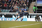 Twickenham, GREAT BRITAIN,  Oxford Thomas GREGORY kicking a first half conversion, during the 2008 Varsity Rugby match Oxford vs Cambridge played at the RFU Stadium Twickenham, Surrey on  Thursday, 11/12/2008[Photo, Peter Spurrier/Intersport-images]