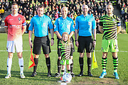 Captains and officials during the EFL Sky Bet League 2 match between Forest Green Rovers and Salford City at the New Lawn, Forest Green, United Kingdom on 18 January 2020.