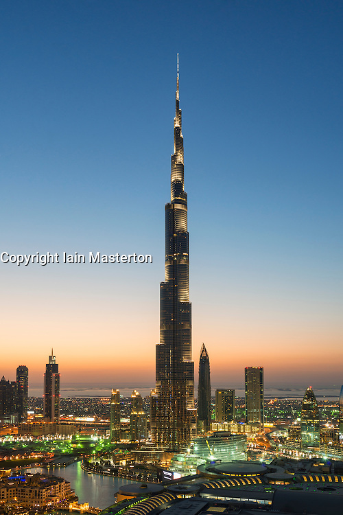 Burj Khalifa and skyline of Downtown Dubai at night in United Arab Emirates