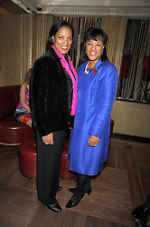 Left to right, sisters HAZEL SCOTLAND and BARONESS SCOTLAND at a party to celebrate the 10th Anniversary of Claridge's Bar, Claridge's Hotel, Brook Street, London on 11th November 2008.
