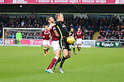 Northampton Town Midfielder Joel Byrom battles for the ball during the Sky Bet League 2 match between Northampton Town and York City at Sixfields Stadium, Northampton, England on 6 February 2016. Photo by Dennis Goodwin.