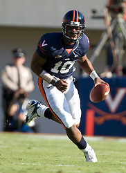 Virginia quarterback Jameel Sewell (10) ..The Virginia Cavaliers defeated the Connecticut Huskies 17-16 at Scott Stadium in Charlottesville, VA on October 13, 2007