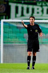 Referee, Roman Glazar during football match between NK Olimpija Ljubljana and NK Rudar Velenje in 1st Round of PrvaLiga Telekom Slovenije 2013/14 on July 13, 2013 in SRC Stozice, Ljubljana, Slovenia. (Photo By Urban Urbanc / Sportida.com)