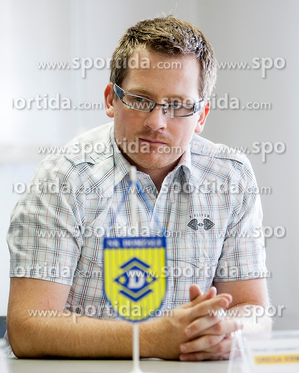 Grega Krmavnar at introduction as a new coach of NK Domzale, on August 21, 2013 in Sports park Domzale, Slovenia. (Photo by Urban Urbanc / Sportida.com)