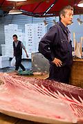 Tuna wholesaler Katsuhiki Kashima at the Tsukiji Market, Tokyo, Japan