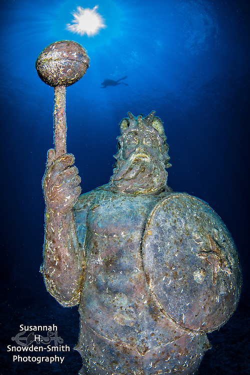 """Guardian Of The Reef"" - A diver swims in the background. Dive Tech / Lighthouse Point, Grand Cayman"