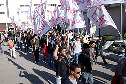 © under license to London News Pictures. 19/02/2011. Protesters march from Salmanyia Medical Complex to the Pearl Roundabout in Manama, Bahrain today (19/02/2011). They would later come under fire from police.  Photo credit should read Michael Graae/London News Pictures