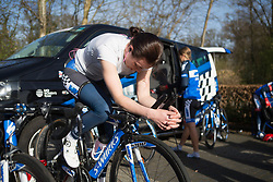 Eileen Roe (GBR) of Team WNT warms up for Stage 1a of the Healthy Ageing Tour - a 16.9 km time trial, starting and finishing in Leek on April 5, 2017, in Groeningen, Netherlands.
