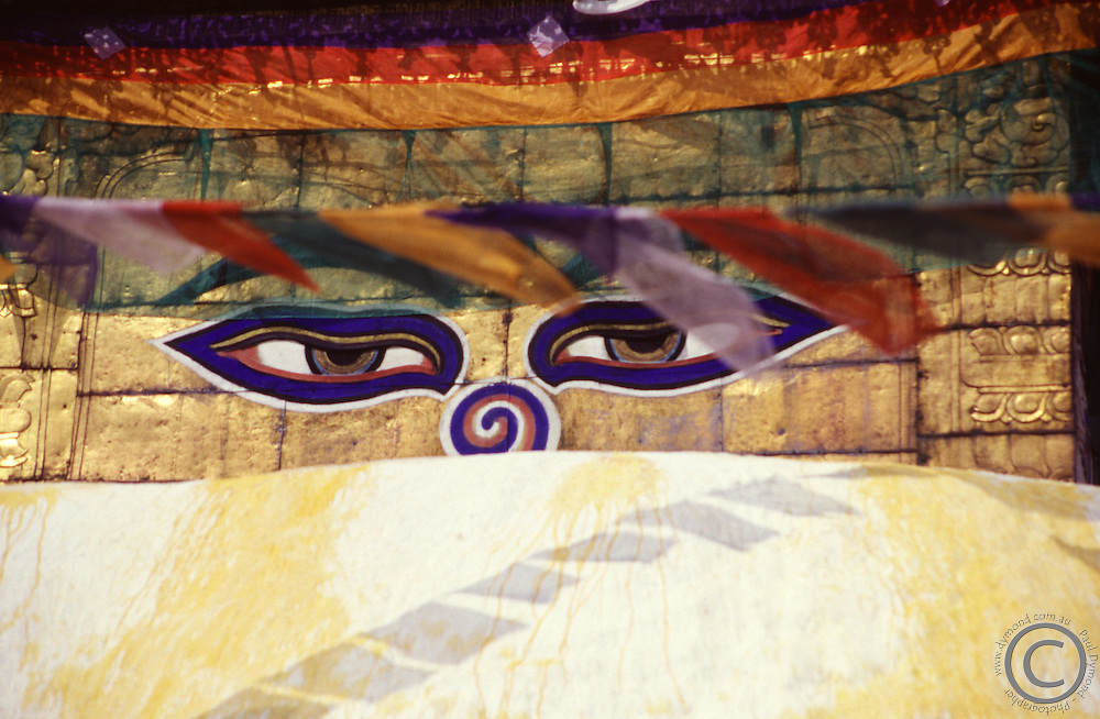 The eyes of Buddha peer out from the stupa at Swayambunath, Kathmandu Valley, Nepal.