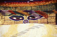 The eyes of Buddha peer out from the stupa at Swayambunath, Kathmandu Valley, Nepal.