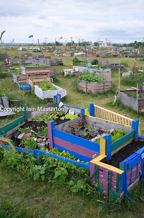 Urban garden or Allmende Kontor at  historic  Tempelhof Airport now park in Berlin Germany