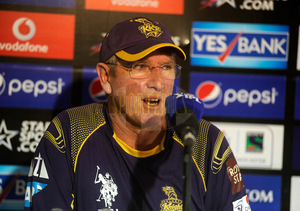 Trevor Bayliss coach, of the Kolkata Knight Riders addresses a press conference after match 25 of the Pepsi Indian Premier League Season 2014 between the Rajasthan Royals and the Kolkata Knight Riders held at the Sardar Patel Stadium, Ahmedabad, India on the 5th May  2014<br /> <br /> Photo by Pal Pillai / IPL / SPORTZPICS      <br /> <br /> <br /> <br /> Image use subject to terms and conditions which can be found here:  http://sportzpics.photoshelter.com/gallery/Pepsi-IPL-Image-terms-and-conditions/G00004VW1IVJ.gB0/C0000TScjhBM6ikg