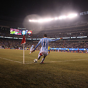Angel Di Maria, Argentina, takes a corner kick during the Argentina Vs Ecuador International friendly football match at MetLife Stadium, New Jersey. USA. 31st march 2015. Photo Tim Clayton