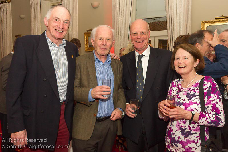 (l to r) Derek Jago, Peter Stapleton, Howard Knot, and Hillary Knot at the reunion night to celebrate 50 years of the Irish Fireball Class, held at the Royal St George YC.