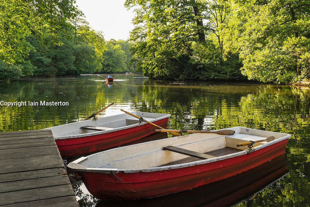Rowing boats for rent  in summer at Cafe am Neuen See in Tiergarten park in Berlin Germany