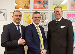 Finance Secretary Derek Mackay (centre) at The ID Co in Edinburgh with Steve Dunlop (left), CEO of Scottish Enterprise, and Benny Higgins, strategic adviser to the First Minister on setting up the bank. pic by Terry Murden @edinburghelitemedia