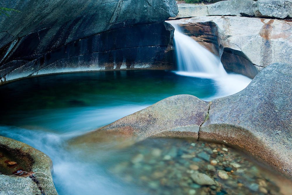 The Basin in New Hampshire's Franconia Notch State Park.  Pemigewasset River.