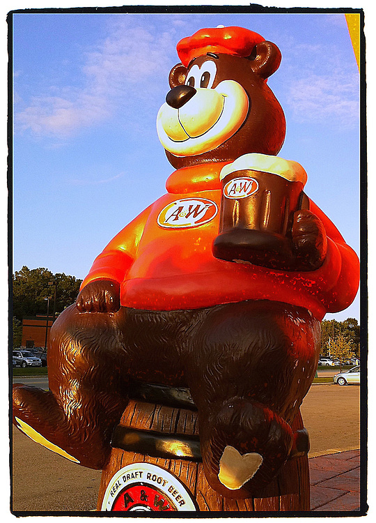 The A&W bear welcomes thirsty guests for root beer. iPhone camera with border and sharpening with PS Express app. (Sam Lucero photo)