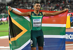 August 8, 2017 - London, England, United Kingdom - Wayde VAN NIEKERK, South Africa,  after winning 400 meter finals in London at the 2017 IAAF World Championships athletics on August 8, 2017. (Credit Image: © Ulrik Pedersen/NurPhoto via ZUMA Press)