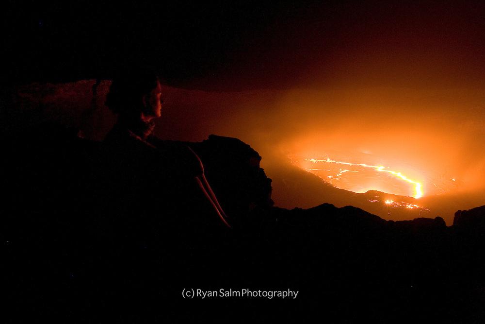 Lauren Bobowski sits on the edge of Irte'Ale Volcano