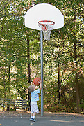 A small boy attempts to shoot a basketball through the hoop.
