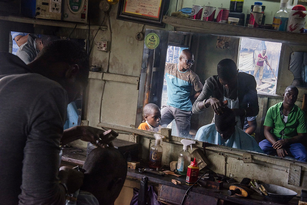 A barber's shop in the Makoko slum