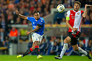 Alfredo Morelos (#20) of Rangers FC shoots for goal during the Europa League match between Rangers FC and Feyenoord Rotterdam at Ibrox Stadium, Glasgow, Scotland on 19 September 2019.